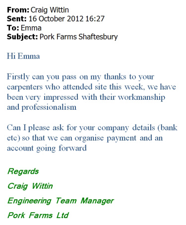 pork farms thank you email